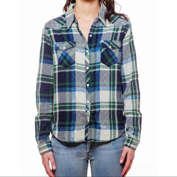 53159cbf Chip Foster Tops | Blue And Green Plaid Cowboy Shirt | Poshmark
